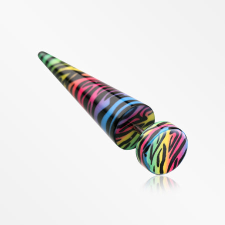 A Pair of Rainbow Zebra Wrapped Acrylic Fake Taper -Rainbow/Multi-Color