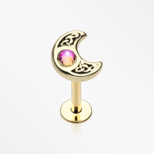 Golden Filigree Sparkle Crescent Moon Steel Labret