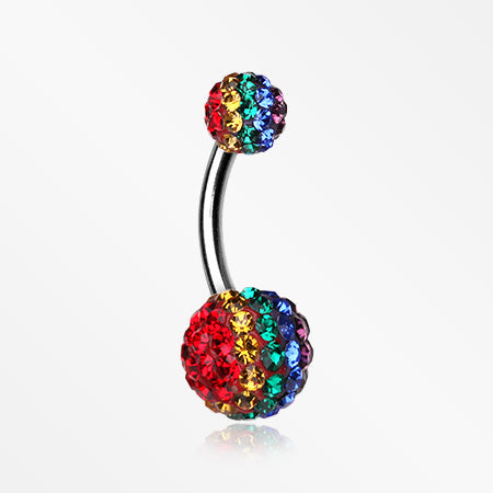 Brilliant Rainbow Multi-Gem Sparkle Belly Ring-Rainbow/Multi-Color