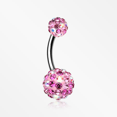Retro Motley Multi-Gem Sparkle Belly Button Ring-Aurora Borealis/Fuchsia/Light Pink