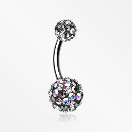 Retro Motley Multi-Gem Sparkle Belly Button Ring-Aurora Borealis/Hematite/Black Diamond