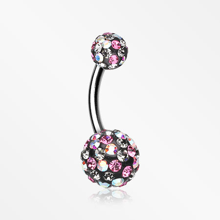 Retro Motley Multi-Gem Sparkle Belly Button Ring-Aurora Borealis/Pink/Black Diamond