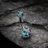 Retro Motley Multi-Gem Sparkle Belly Button Ring-Teal/Aurora Borealis/Black
