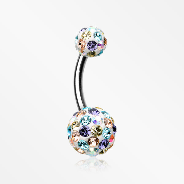 Brilliant Multi-Gem Sprinkle Sparkle Belly Ring-Aurora Borealis/Light Pink/Aqua