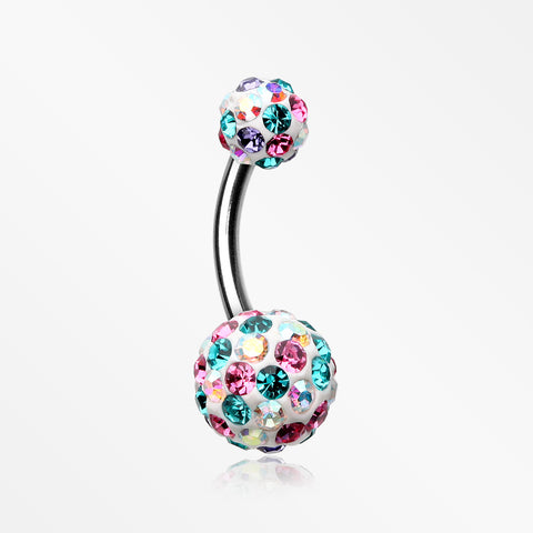 Brilliant Multi-Gem Sprinkle Sparkle Belly Ring-Aurora Borealis/Pink/Teal