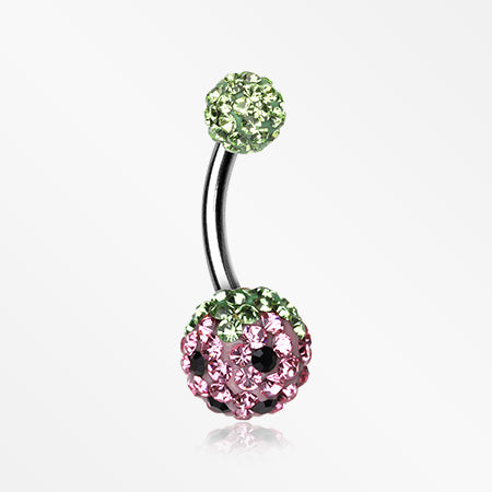 pink-berry-multi-gem-sparkle-belly-ring-green-light-pink
