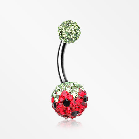 Pink Berry Multi-Gem Sparkle Belly Ring-Green/Red