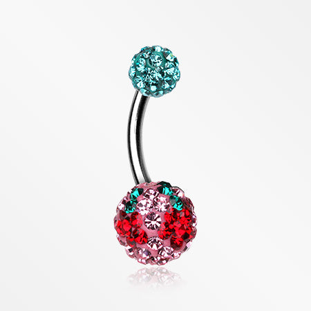 Cheri Cherry Multi-Gem Sparkle Belly Ring-Teal/Light Pink