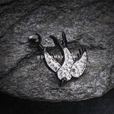 Multi-Gem Sparkle Blackline Swallow Belly Button Ring-Clear