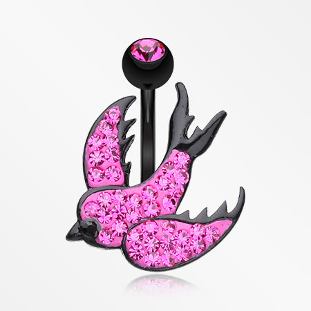 Multi-Gem Sparkle Blackline Swallow Belly Button Ring-Fuchsia