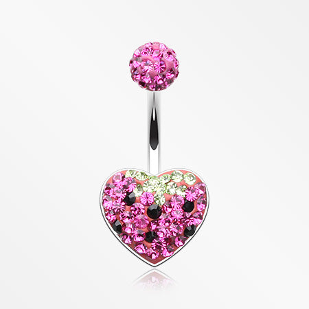 very-berry-strawberry-multi-gem-sparkle-heart-belly-button-ring-fuchsia