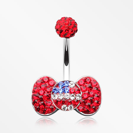 American Flag Bow-Tie Multi-Gem Sparkle Belly Button Ring-Red