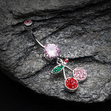 Cherry Delight Multi-Gem Sparkle Dangle Belly Button Ring-Pink