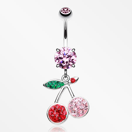 cherry-delight-multi-gem-sparkle-dangle-belly-button-ring-pink