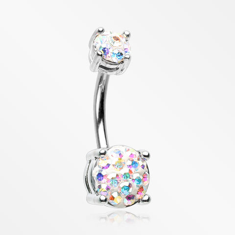 Multi-Gem Sprinkle Sparkle Prong Set Belly Button Ring-Aurora Borealis