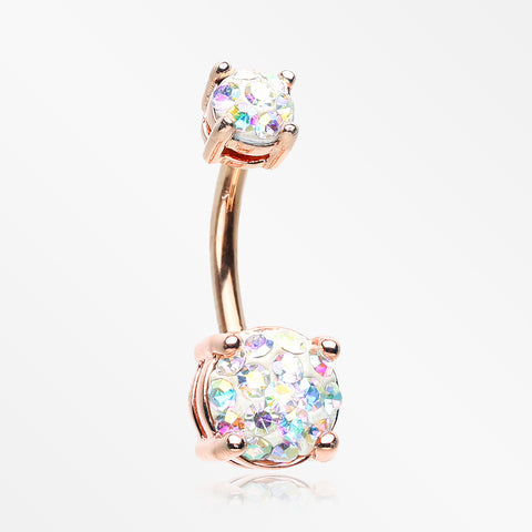 Rose Gold Multi-Gem Sprinkle Sparkle Prong Set Belly Button Ring-Aurora Borealis