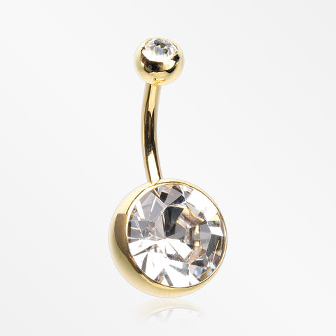 Golden Grand Sparkle Gem Ball Basic Belly Button Ring-Clear
