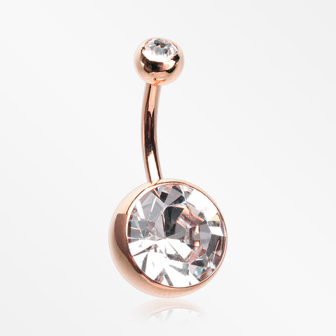 Rose Gold Giant Sparkle Gem Ball Belly Button Ring-Clear