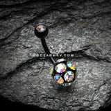 Colorline Sparkle Multi Gem Belly Button Ring-Black/Aurora Borealis