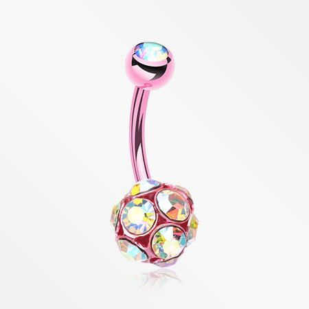 Colorline Sparkle Multi Gem Belly Button Ring-Light Pink/Aurora Borealis
