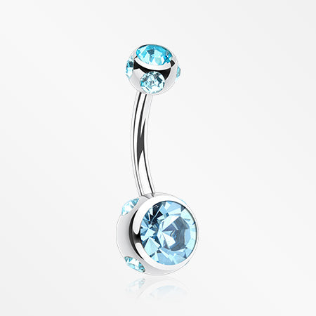 Aurora Gem Ball Steel Belly Button Ring-Aqua