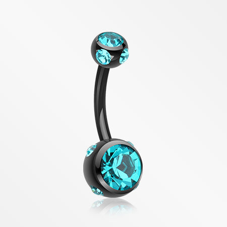 Colorline Aurora Gem Ball Steel Belly Button Ring-Black/Teal
