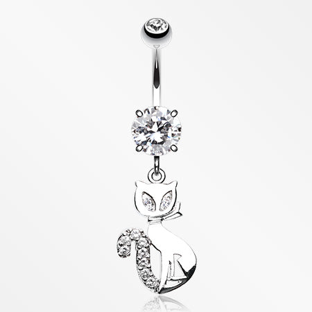 Urban Kitty Cat Belly Button Ring-Clear