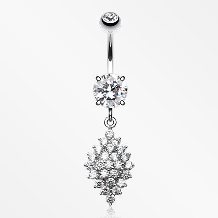 Vibrant Sparkle Diamond Crystals Belly Button Ring-Clear