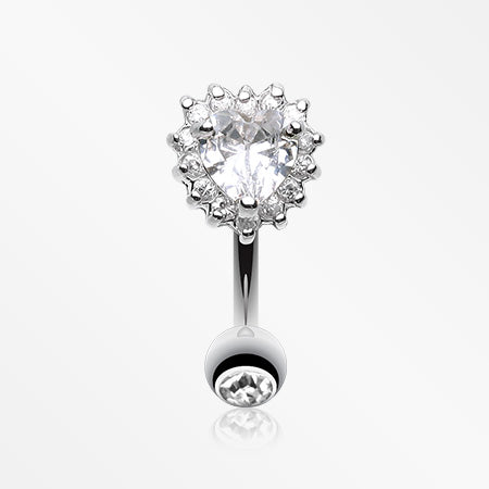Radiant Heart Reverse Belly Button Ring-Clear