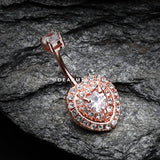 Rose Gold Heart Essentia Belly Button Ring-Clear