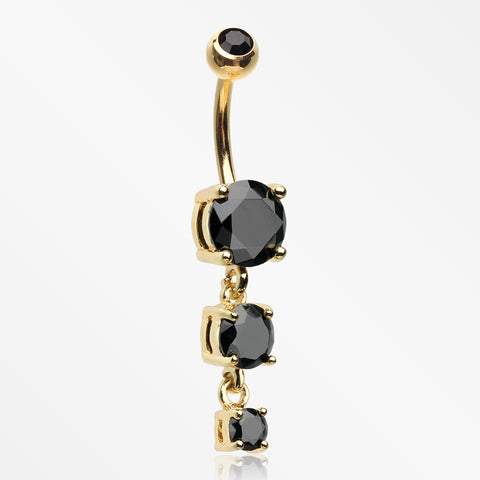 Golden Brilliant Gem Cascade Belly Button Ring-Black