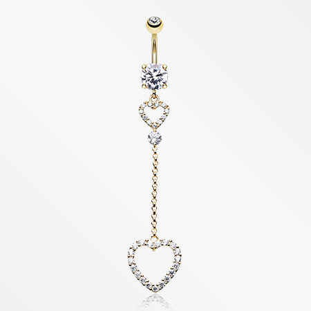 Golden Luscious Double Hearts Belly Button Ring-Clear