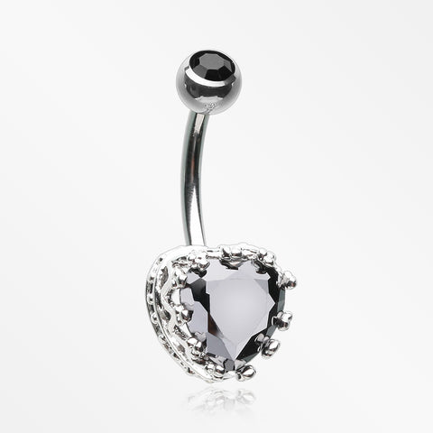 Princess Crown Prong Heart Sparkle Belly Button Ring-Black