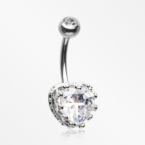 Princess Crown Prong Heart Sparkle Belly Button Ring-Clear