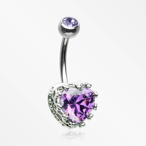 Princess Crown Prong Heart Sparkle Belly Button Ring-Purple