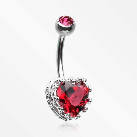 Princess Crown Prong Heart Sparkle Belly Button Ring-Red
