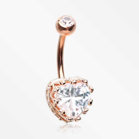 Rose Gold Princess Crown Prong Heart Sparkle Belly Button Ring-Clear