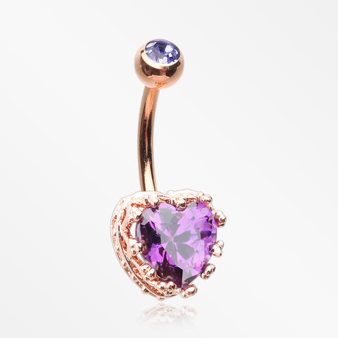 Rose Gold Princess Crown Prong Heart Sparkle Belly Button Ring-Purple