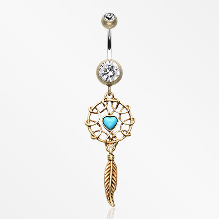 Antique Turquoise Heart Dreamcatcher Belly Button Ring-Brass/Clear