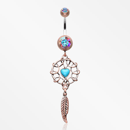 Antique Turquoise Heart Dreamcatcher Belly Button Ring-Copper/Aurora Borealis