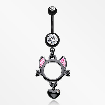 Adorable Black Kitty Cat Belly Button Ring-Black/Clear