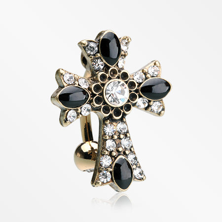 Golden Antique Enchanted Sparkle Cross Reverse Belly Button Ring-Clear