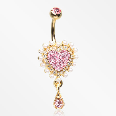 Golden Heart Sparkle Pearlescent Dazzle Belly Button Ring-Pink/Clear