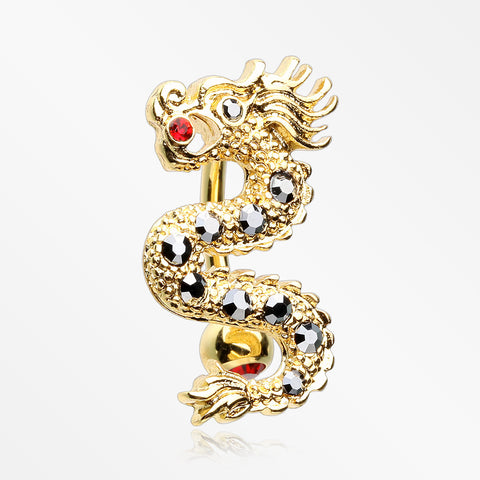 Golden Fire Dragon Lore Reverse Belly Button Ring-Red/Hematite