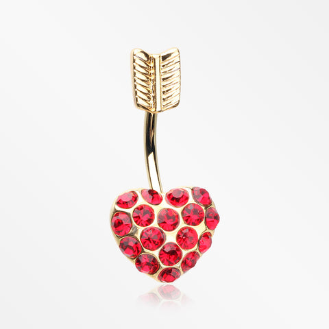 Golden Heart Sparkle Feather Top Belly Button Ring-Red