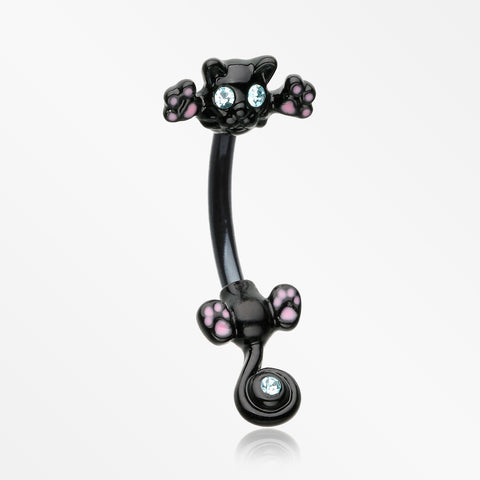Blackline Jumping Kitty Cat Sparkle Belly Button Ring-Black/Aqua