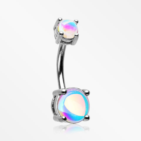 Iridescent Revo Sparkle Prong Set Belly Button Ring