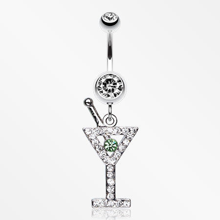 Martini Glass Sparkle Belly Ring-Clear/Light Green