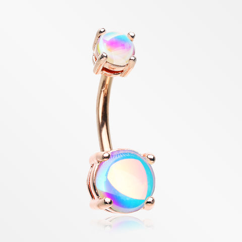 Rose Gold Iridescent Revo Sparkle Prong Set Belly Button Ring