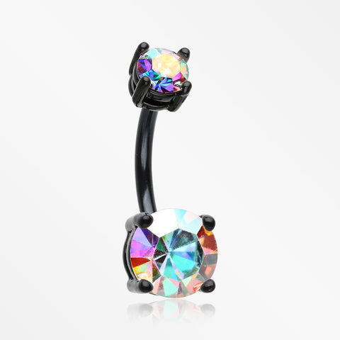 Colorline Brilliant Sparkle Gem Prong Set Belly Button Ring-Black/Aurora Borealis